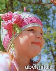 Шапочка крючком <strong>вязание</strong> с цветком для девочки