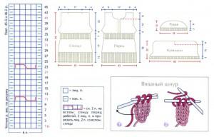 Схема и выкройка розового молодежного пуловера