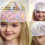 Летние шапочки для девочек со схемами
