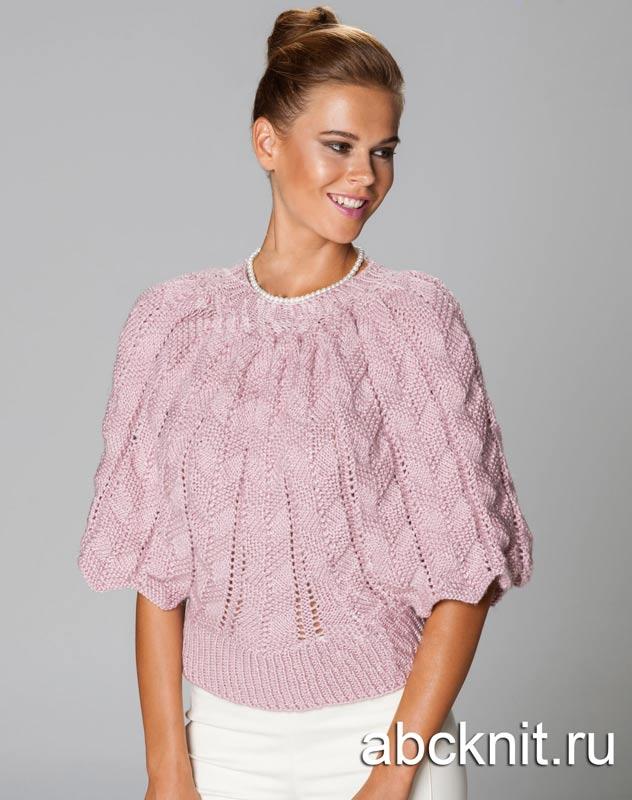 очаровательный пуловер с рукавами летучая мышь вязание спицами и
