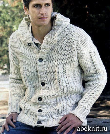 Вязаная мужская куртка с капюшоном