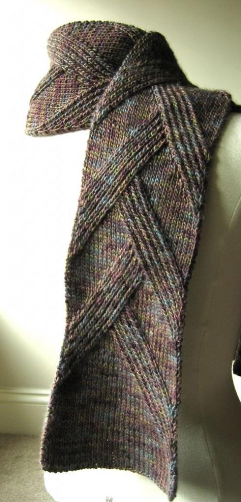 стильный мужской шарф от Margarete Dolff вязание спицами и крючком