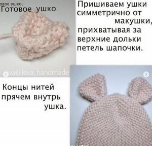 Как вязать ушко для шапки